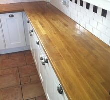 Oak Block worktop before refinishing