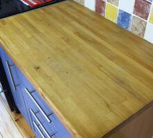 Beech block worktop before sanding